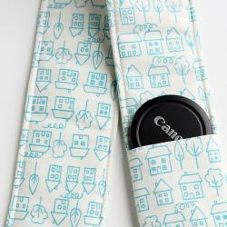 DSLR Camera Strap Cover - Padding and Lens Cap Pocket - Houses Blue Doodle